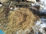 First layer of dry rice straw
